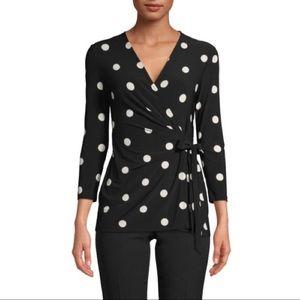 Anne Klein Faux Wrap Top, Black/White, New